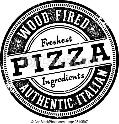 Wood Fired Pizza Menu Stamp - csp43549597