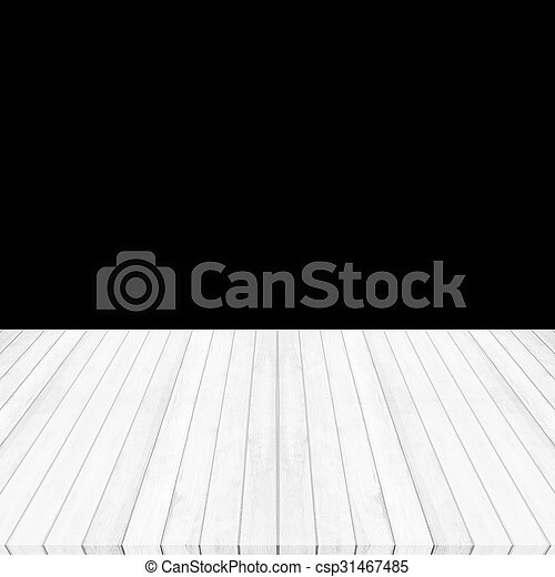 Wood floor white - gray perspective on black background - csp31467485