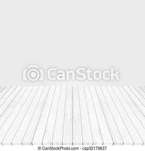 Wood floor white - gray perspective on gray background - csp32179637
