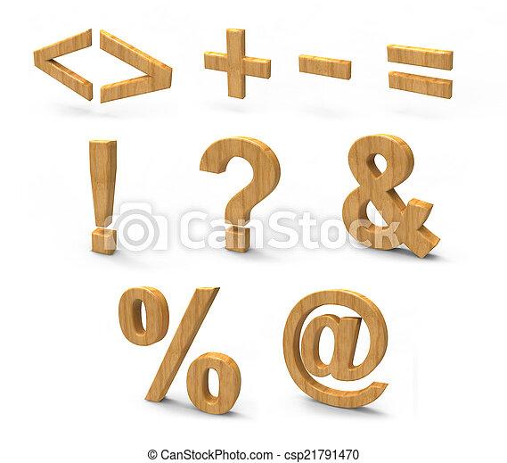 wood font isolated on white background. - csp21791470