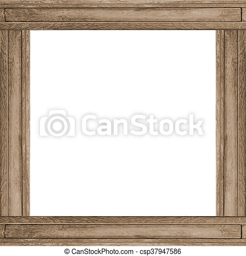 Wood frame square background. White background with wood material ...