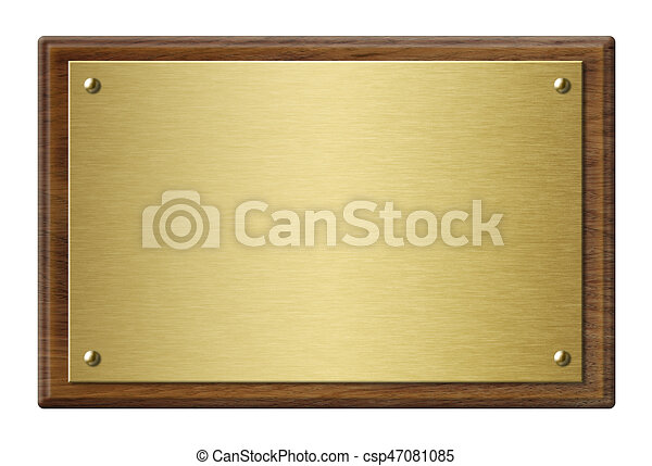 Wood frame with gold metal plaque 3d illustration. Wood plaque with ...