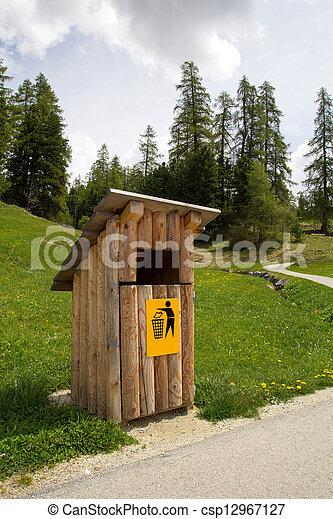 wood garbage bin - csp12967127