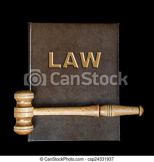 Wood gavel and book - csp24331937