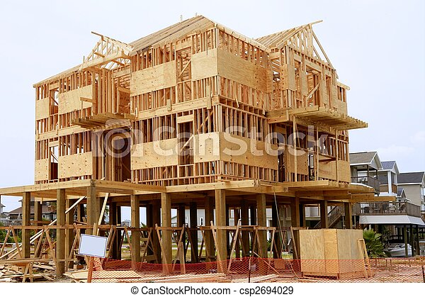 Wood House Contruction, American Wooden Structure   Csp2694029