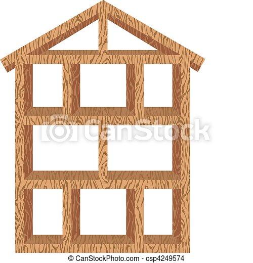 Wood house frame. Vector illustration of a wood framed house.