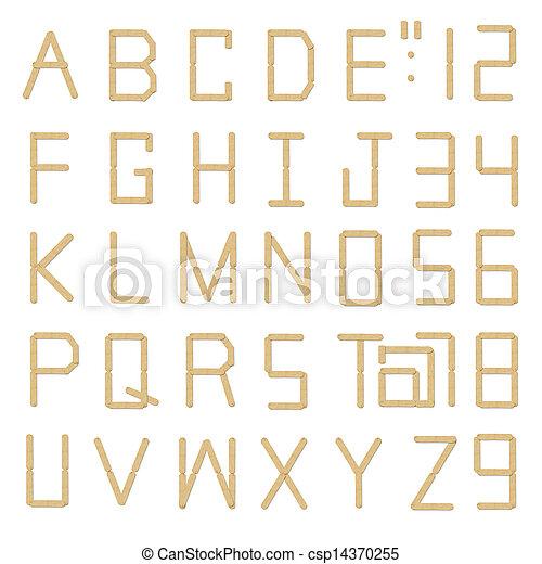 Wood ice-cream stick alphabet on white background - csp14370255
