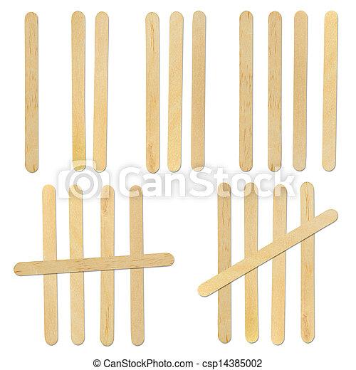 wood ice-cream stick on white background - csp14385002