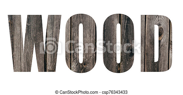Wood inscription on the background of wooden boards - csp76343433