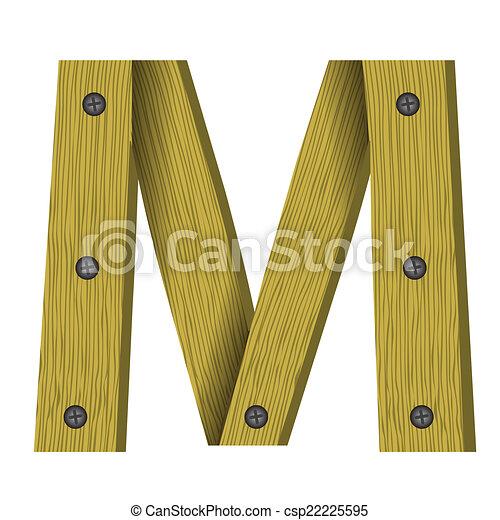 wood letter M - csp22225595