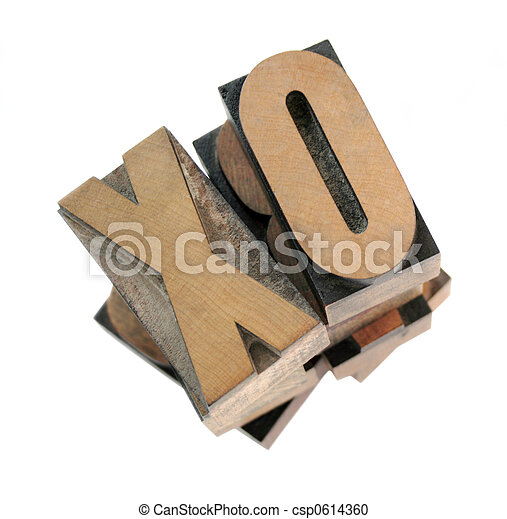 wood letters x and o - csp0614360