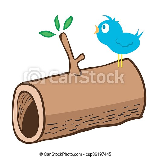 wood log and a bird on it cartoon illustration of wood log eps rh canstockphoto com log clipart images log clipart black and white