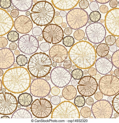 Wood log cuts seamless pattern background - csp14932320