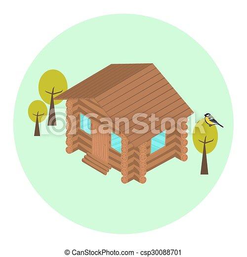 Wood log isometric house icon - csp30088701