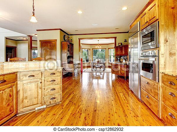 Wood luxury home kitchen interior. New Farm American home. - csp12862932