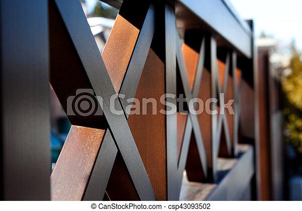 wood modern fence - csp43093502