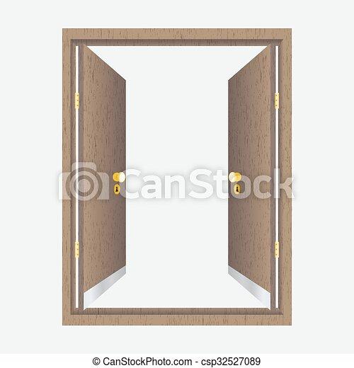 Wood open door with frame - csp32527089