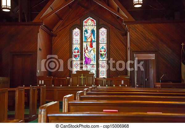 Wood Pews and Stained Glass in Small Church - csp15006968