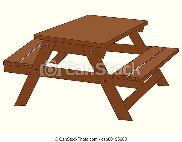 Wood picnic table vector drawing