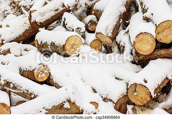 Wood pieces, tree chops stored outdoors for fireplace or mantel, texture or background. - csp34906664