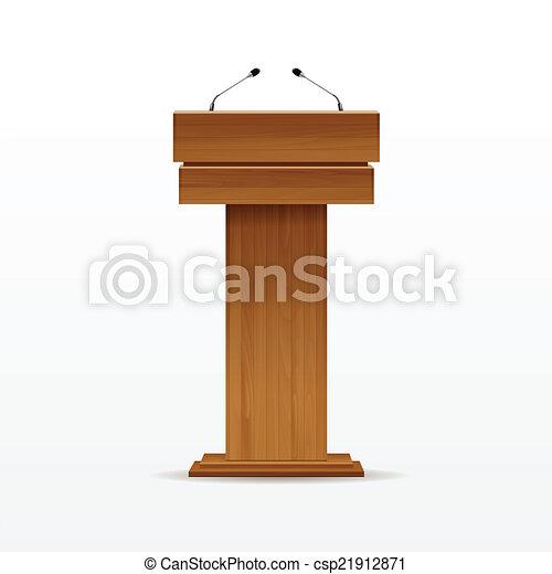 Wood Podium Tribune Rostrum Stand with Microphone - csp21912871
