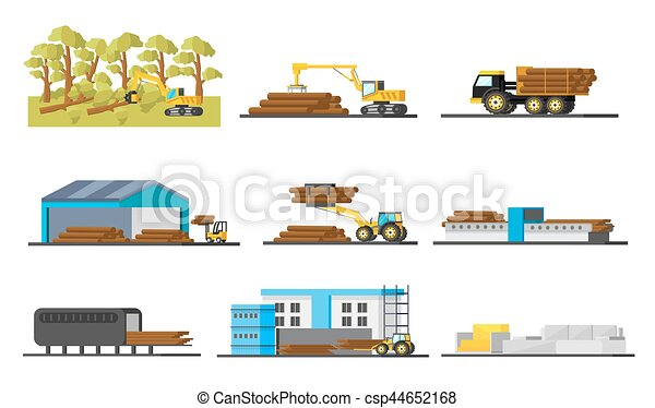 Wood Production Elements Collection - csp44652168