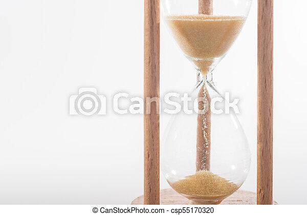 wood sandglass on white background - csp55170320