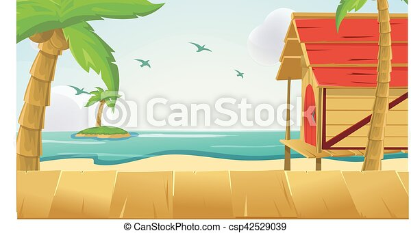 Wood Sea Sky Tropical Background Vector - csp42529039