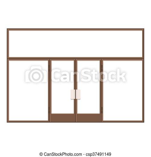 Wood Shopfront with Large Black Blank Windows. Vector - csp37491149