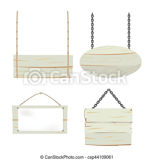 Wood Sign Board Collection Set Vector - csp44109061