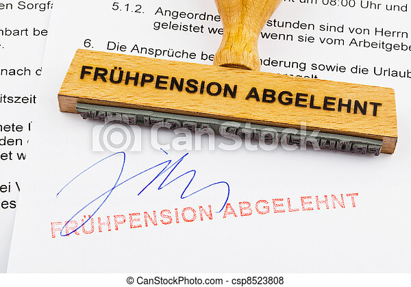 wood stamp: early retirement rejected - csp8523808