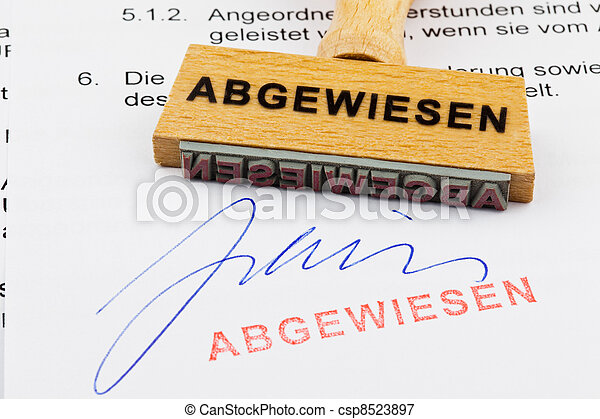 wood stamp on the document: rejected - csp8523897