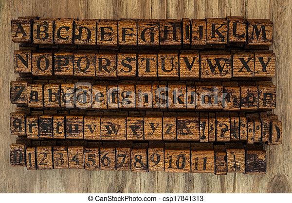 wood stamps alphabet and numbers - csp17841313