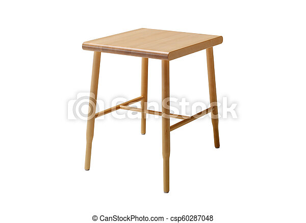 Wood stool isolated on a white background - csp60287048
