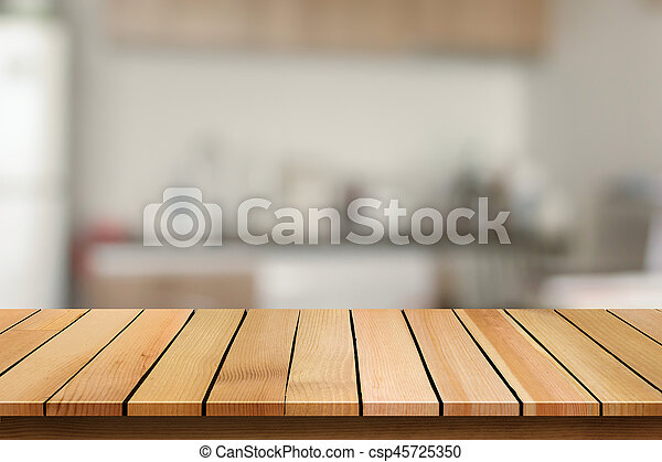 Wood Table Top On Blur Bokeh Kitchen Background Can Be Used For Display Or Montage Your Products