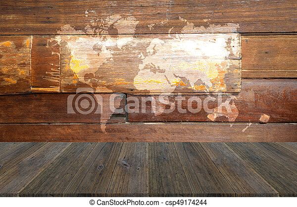 Wood texture background with wood terrace with world map
