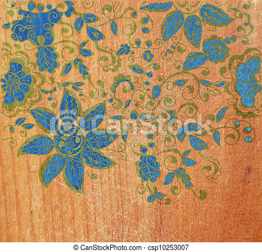 Wood texture with floral pattern - csp10253007