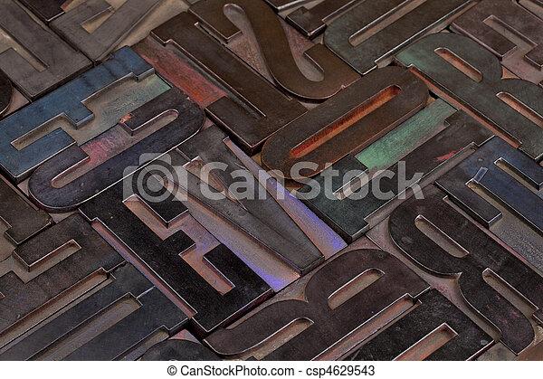 wood type alphabet abstract - csp4629543