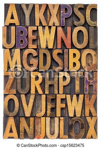 wood type alphabet - csp15623475