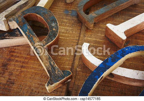 Wood type fonts - csp14577185