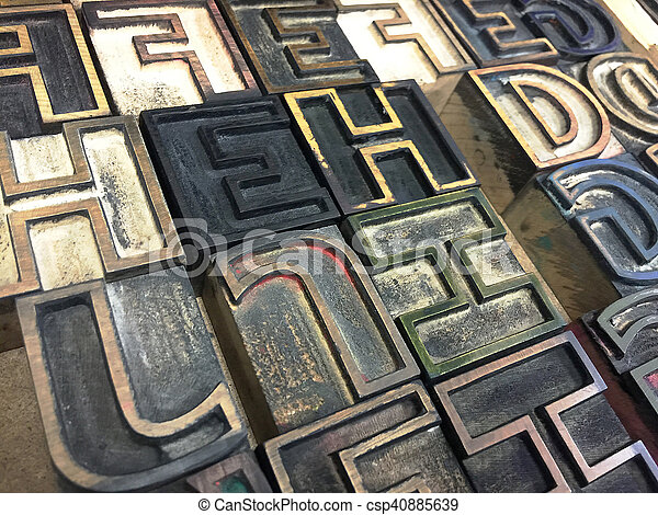 Wood type outline letters - csp40885639