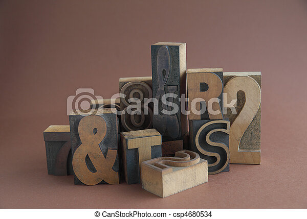 wood type with ampersands - csp4680534