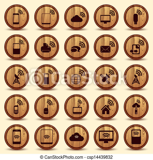 Wood WiFi icons. Mobile and wireless Buttons. - csp14439832
