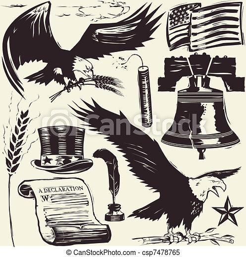 Woodcut Americana - csp7478765