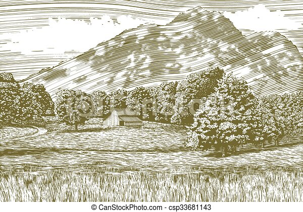 Woodcut Barn and Mountain Landscape - csp33681143