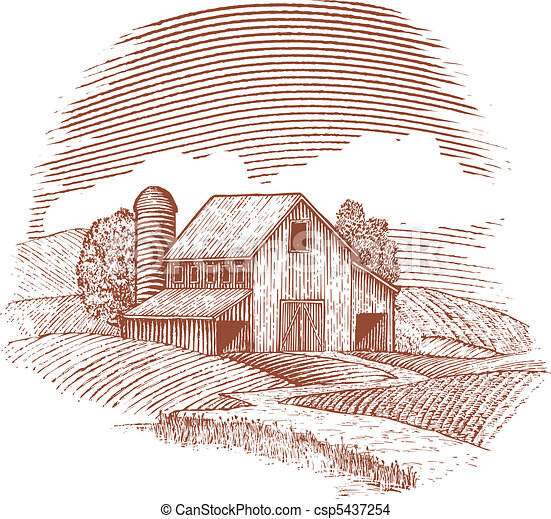 Woodcut Barn Style Illustration Of An Old