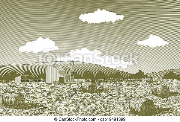 Woodcut Barn Scene - csp19491399