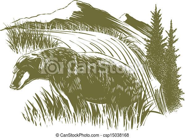 Woodcut Bear Scene - csp15038168
