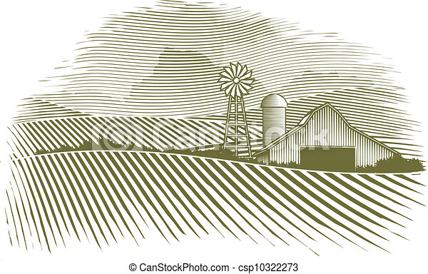 Woodcut Countryside - csp10322273