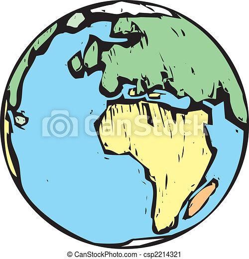 Woodcut Earth - csp2214321